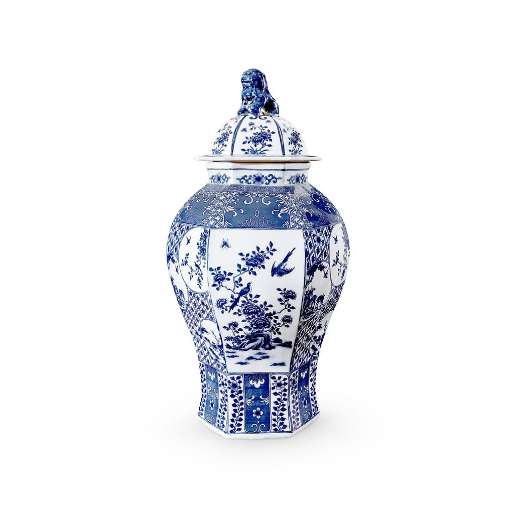 Palace 6-Sided Temple Jar in Blue & White