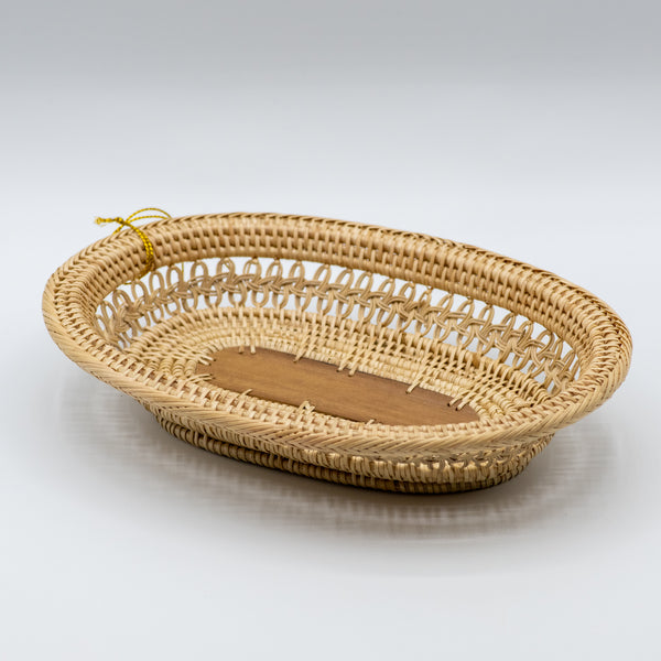 Mini Round Table Tray w/ Palm Leaf Center