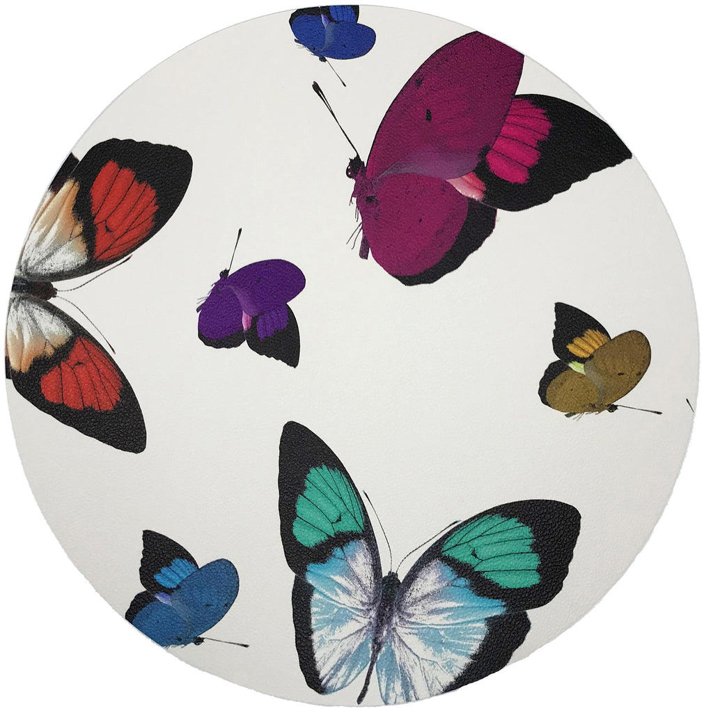Butterflies Pink Round Pebble Placemat