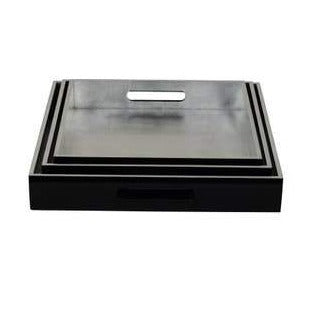 Silver/Black Square Trays -Set of 3
