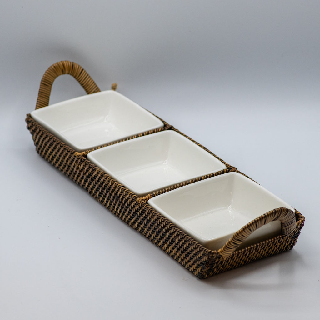 Rectangular Tray w/ 3 Dividers w/ 3 Square Porcelain