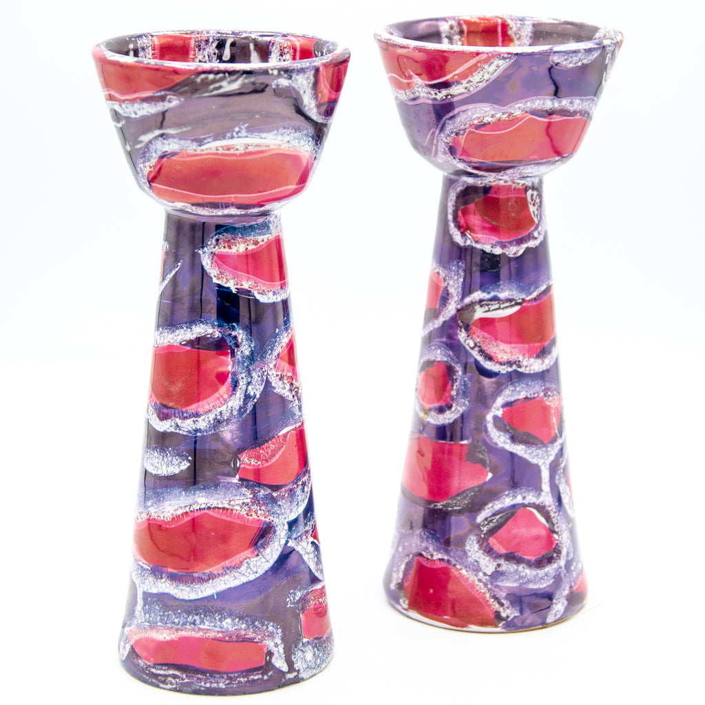 Red/Purple Luster Glazed Bitossi Candlesticks