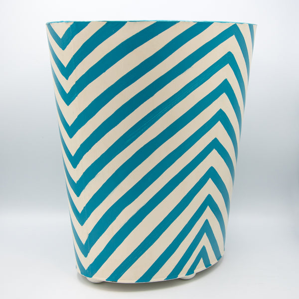 Oval Wastebasket w/ Turquoise & Cream Zebra Design