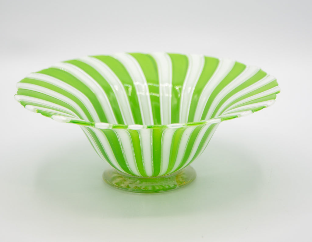 Fratelli Toso Murano Glass Ribbon Plate Green