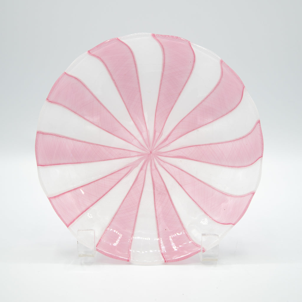 Fratelli Toso Murano Glass Ribbon Plate Pink