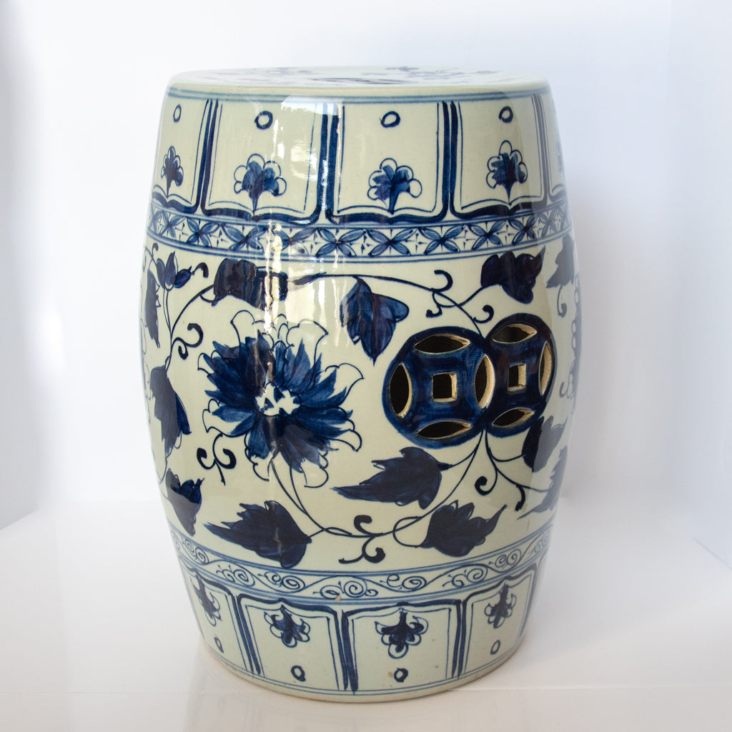 Blue Flowers Garden Stool