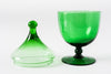 Green Glass Lidded Jar - 1950's Italy