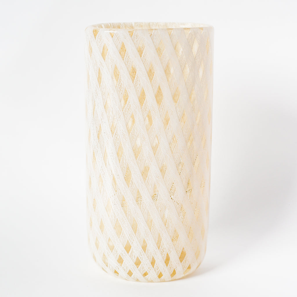Murano Glass Oval Lattice Work Vase by Barovier - 1950's Italy