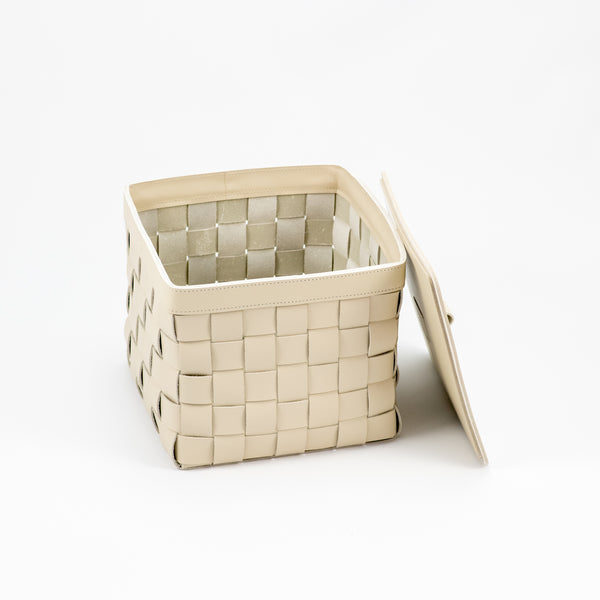 Mondina Medium Tall Square Basket w/ Lid (Light Grey)