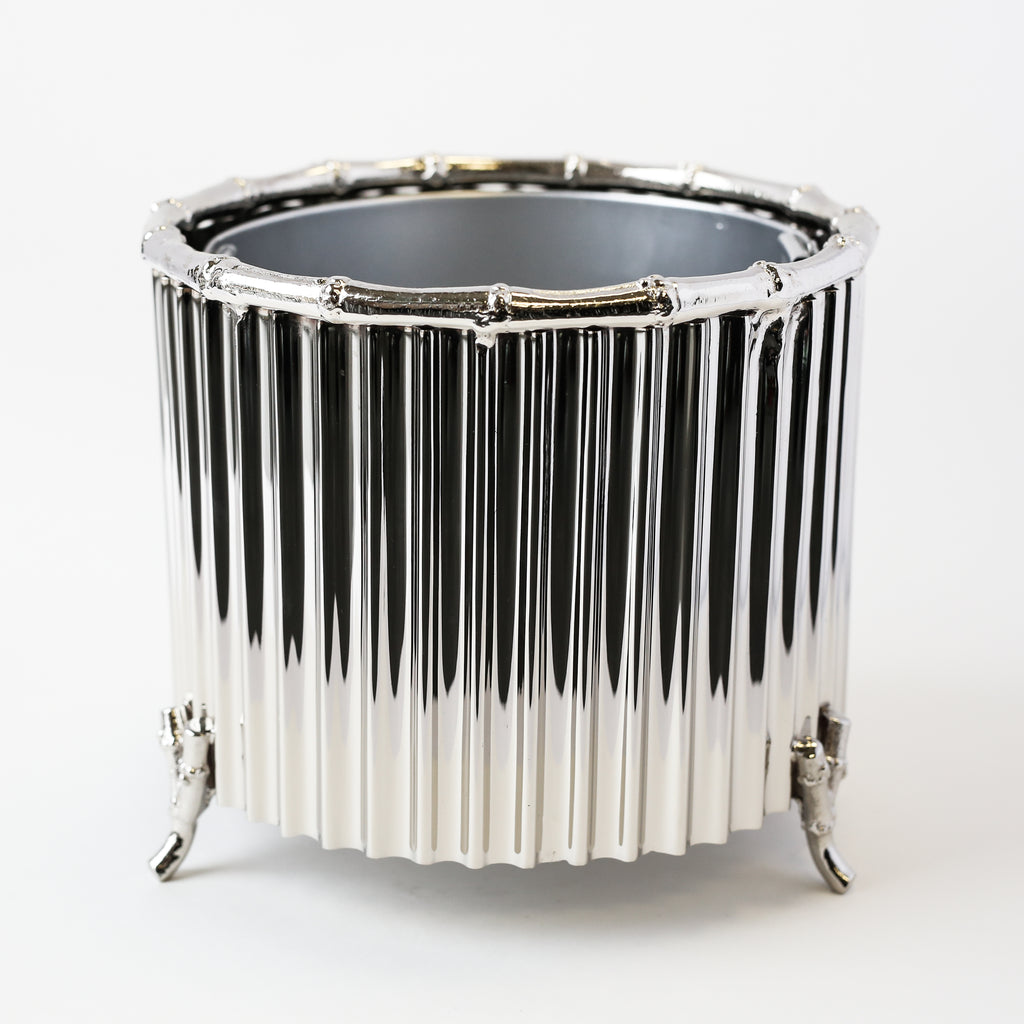 Corrugated Bamboo Cachepot - Small Nickel