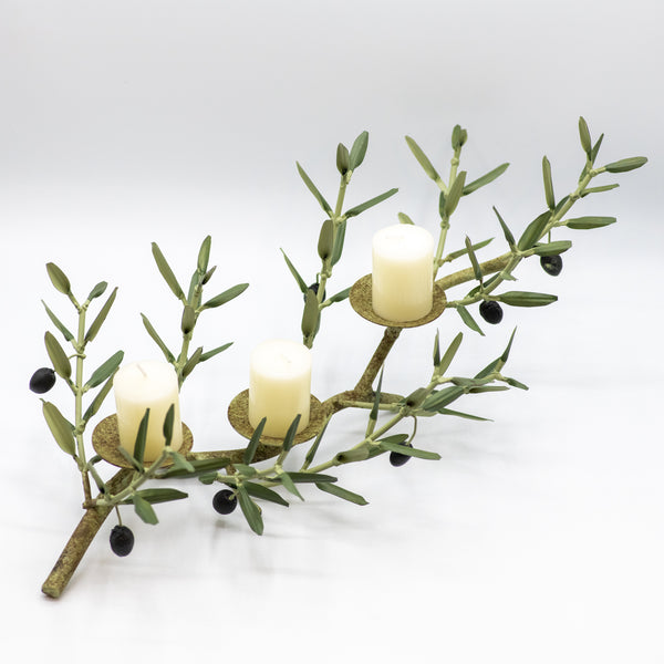 Olive Branch Linear Candle Holder