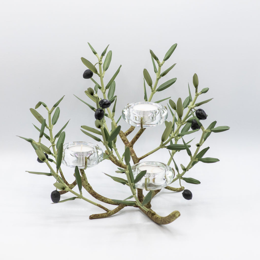 Olive Branch Tiered Candle Holder