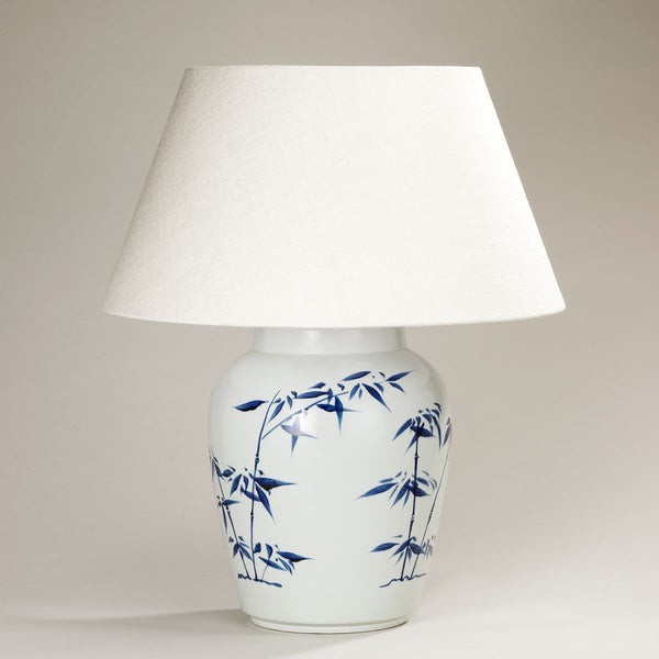 Bamboo Leaf Ceramic Vase Lamp w/ Shade