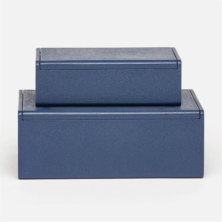 Halia Navy Faux Belgian Linen Box - Large
