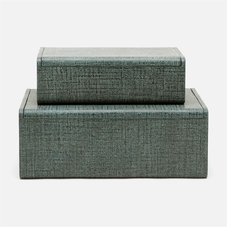 Halia Denim Faux Belgian Linen Box - Large