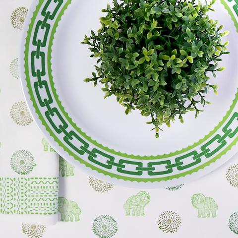 Lime Green Chain Melamine Dinner Plates