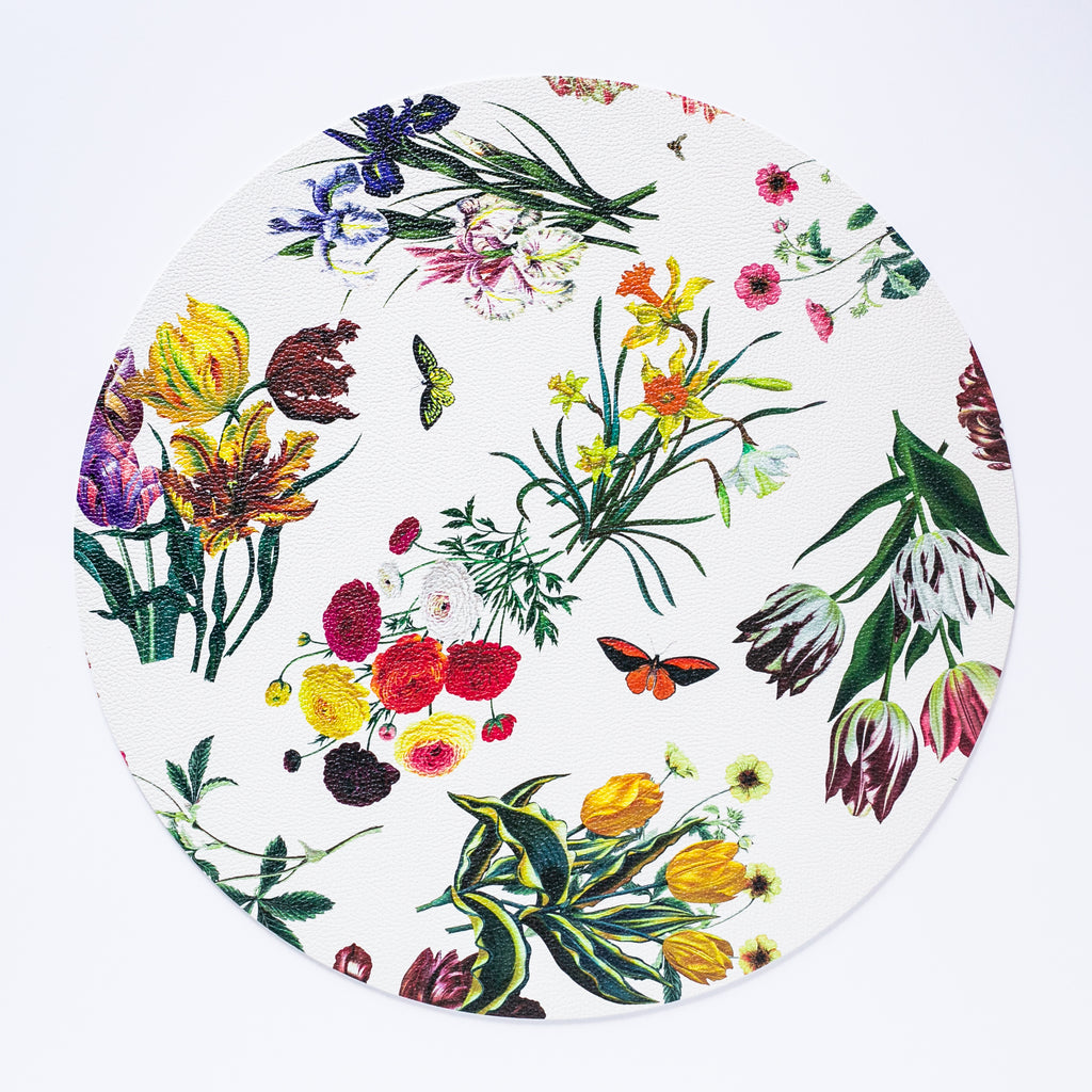 Flora Fauna White Round Pebble Placemat