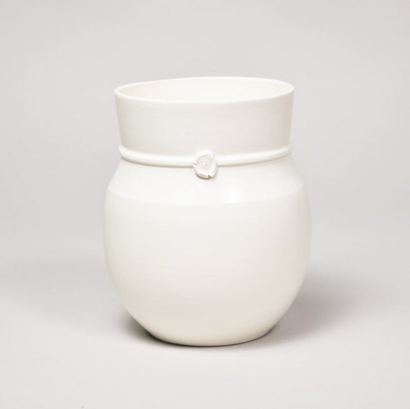 Medium Banded Vase Matte White