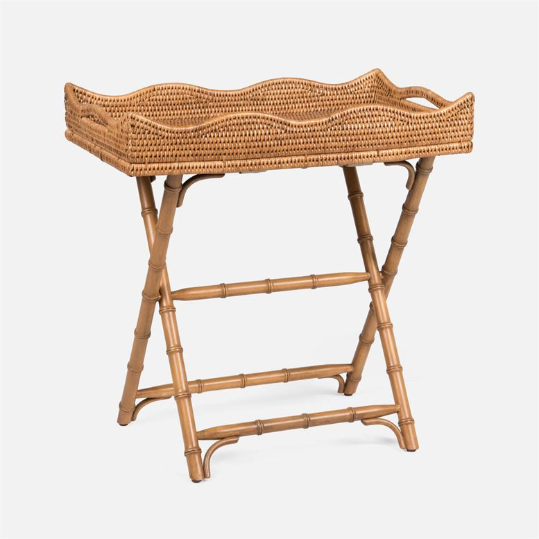 Naoki Natural Woven Rattan Folded Tray Accent Table