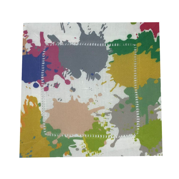Paint Splatter Hemstitch Cocktail Napkins