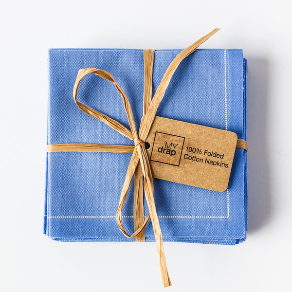 Sea Blue Cotton Folded Napkins