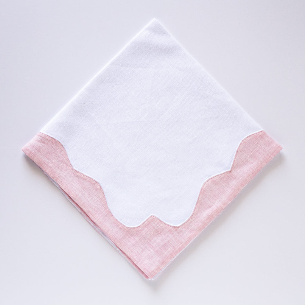 Napkins Scallop Border -White/Pink