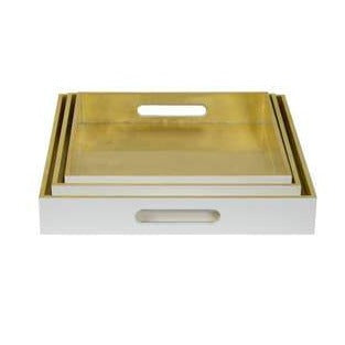 Gold/White Square Trays -Set of 3