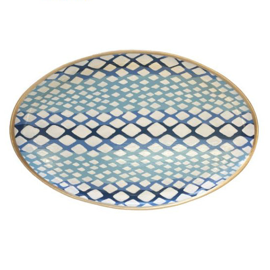 Oval Tray in Blue Python