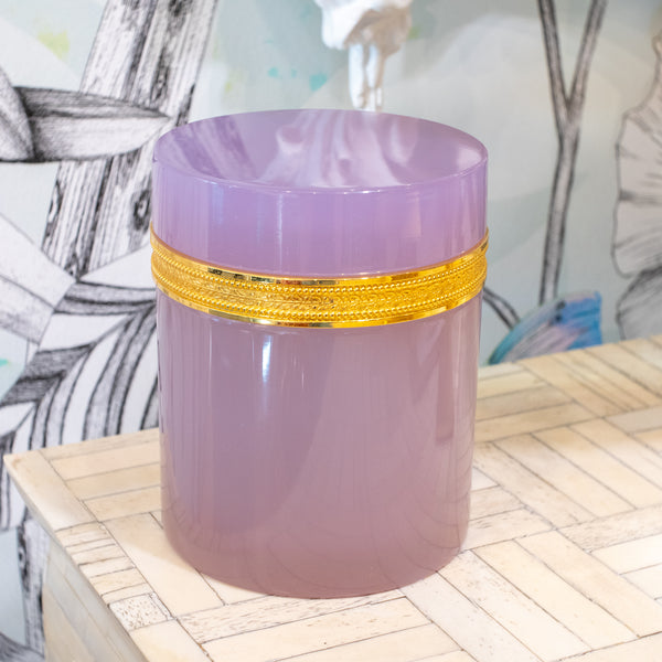 Lavender Opaline Glass Box w/ Gilt Bronze
