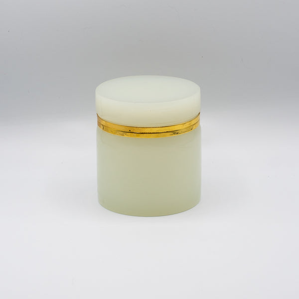 White Opaline Glass Box w/ Gilt Bronze