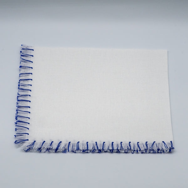 Napkins Hand Fringe -White/Electric Blue