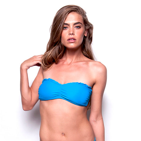 Curaçao Blue Palermo Ruffle Bandeau Top (FINAL SALE)