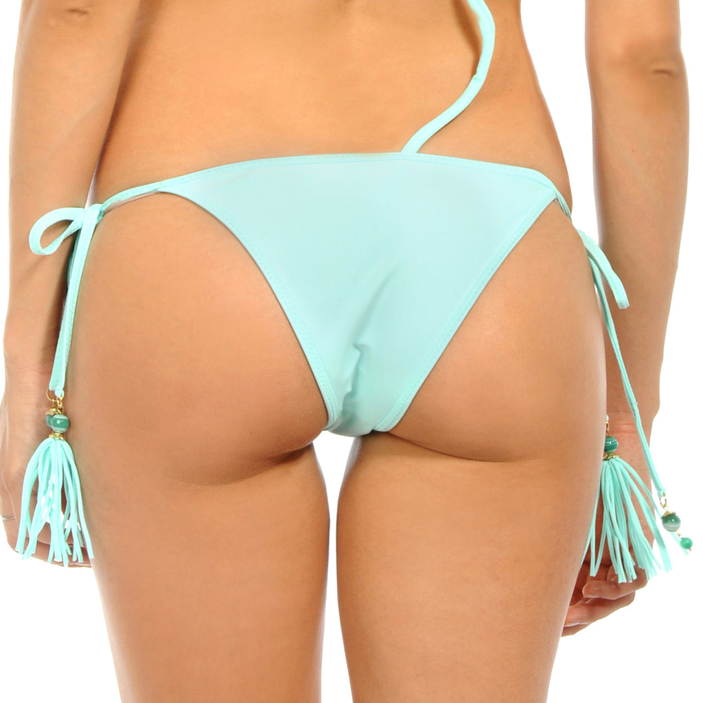 Gem Tassel Light Aquamarine Tie Side Bottom
