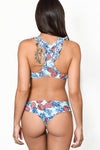 AMAZON FLOWER Ruffle Racerback Bikini Top