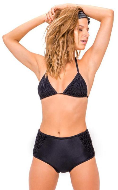 BLACK Ruffle High Waisted Bikini Bottom front