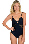 BLACK Maya Unlimited Mesh One Piece Bathing Suit