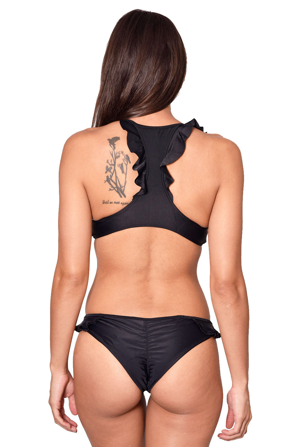 Ruffle Scrunch Black Bottom back
