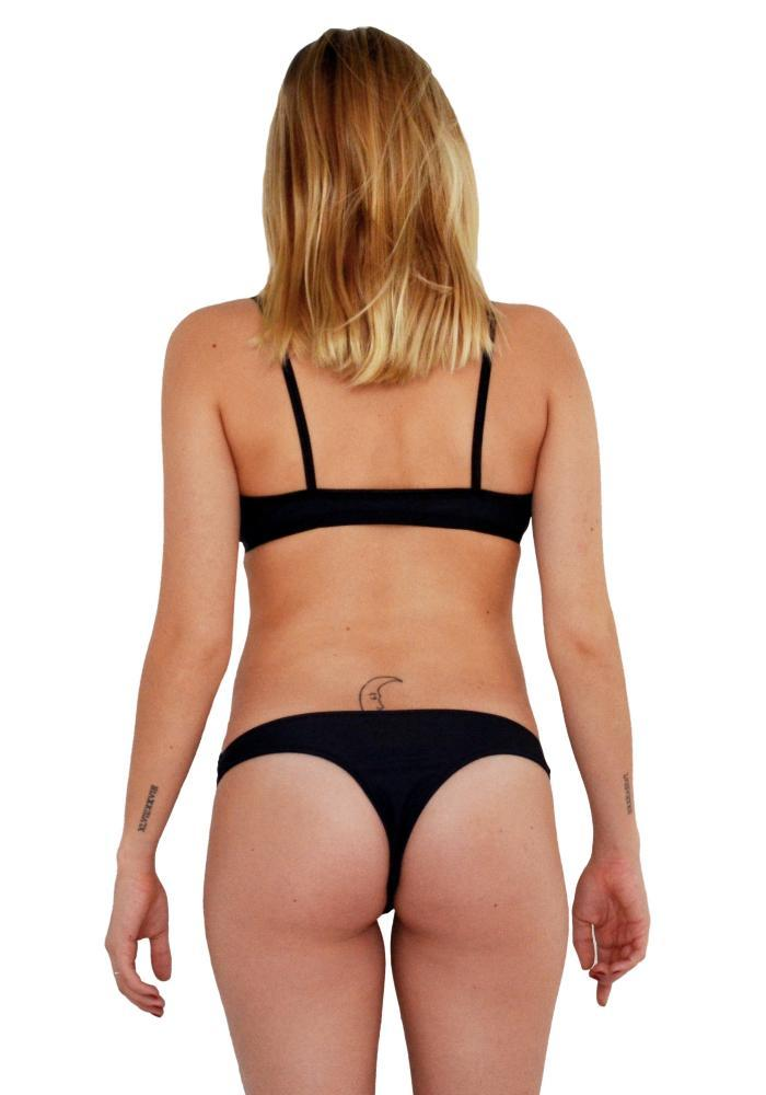 Black Less Coverage Bikini Bottom