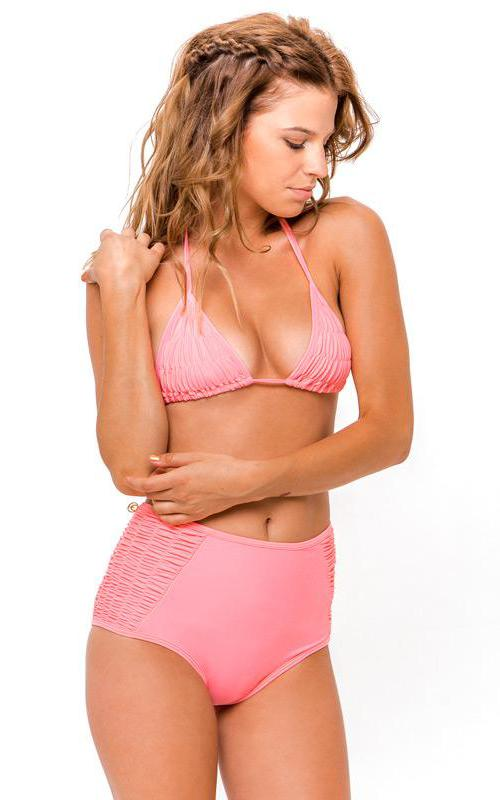 PINK ROSÊ Ruffle High Waisted Bikini Bottom front