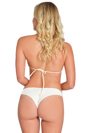 Pearl Ivory Scrunch Thong Bikini by Maya Swimwear
