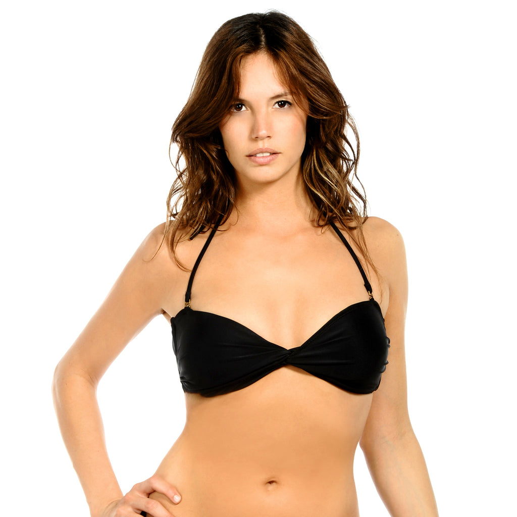 Black Twist Bandeau Top