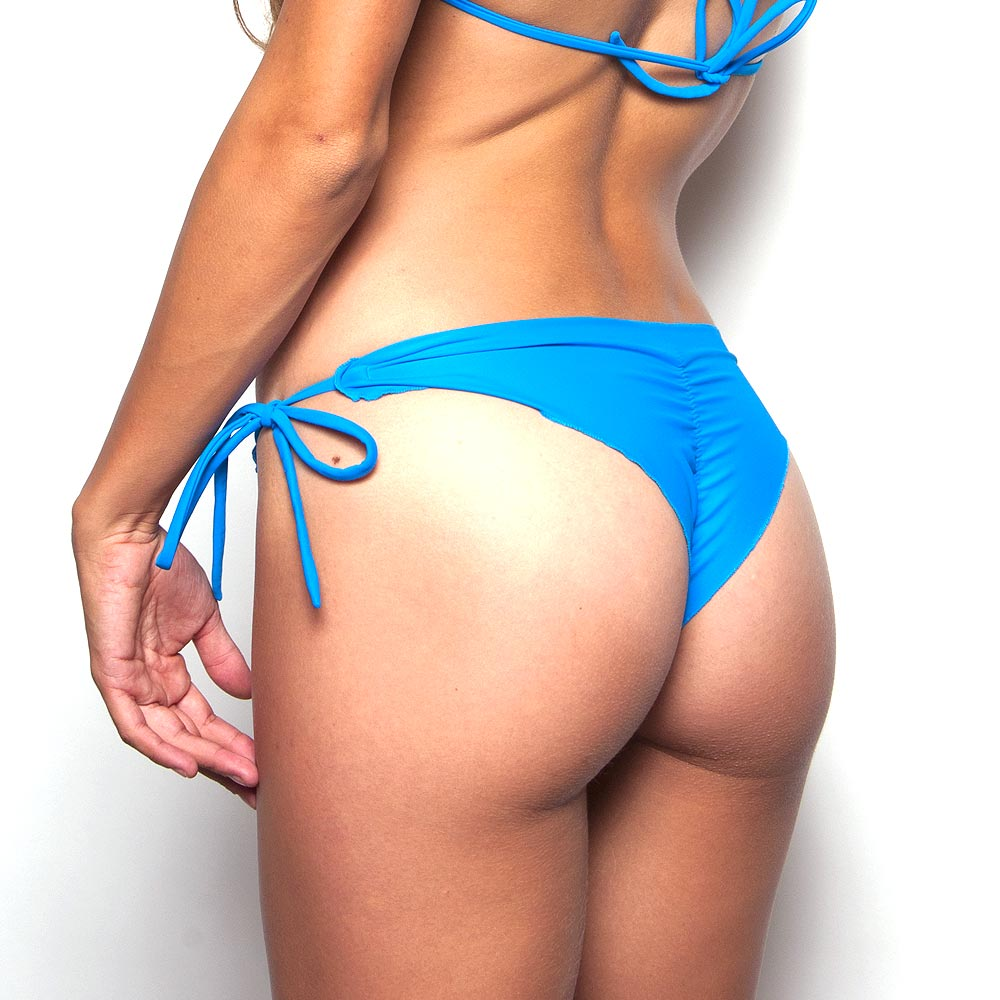Heavenly Blue Less Coverage Tie Side Scrunch Bikini Bottom