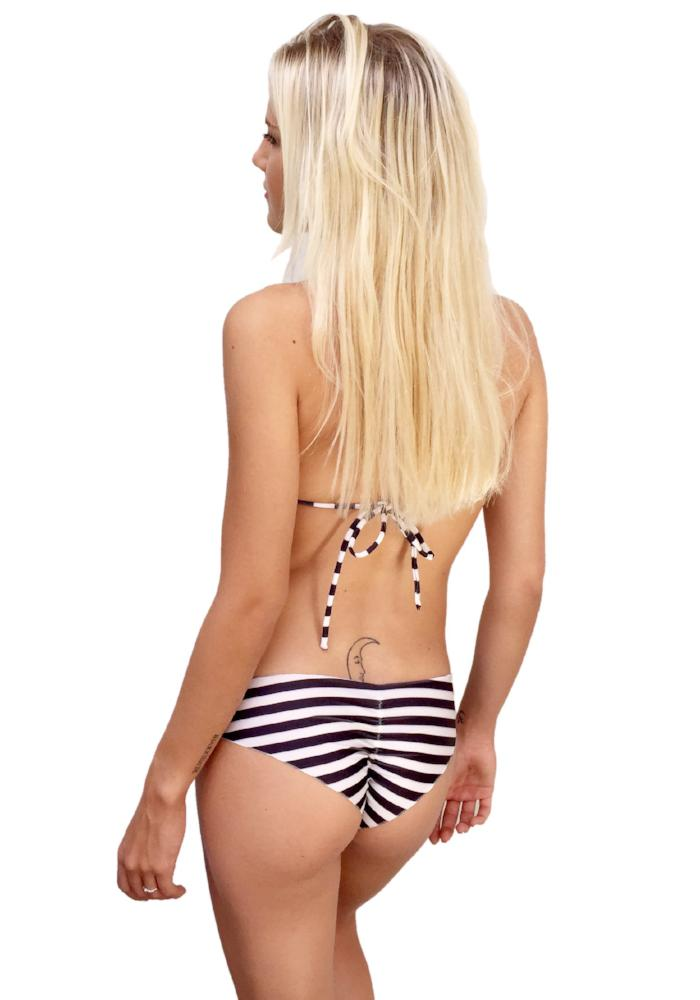 Black Stripes Scrunch Bikini Bottom
