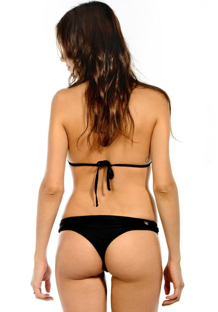 BLACK Ruffle Thong Bikini Bottom | Maya Swimwear