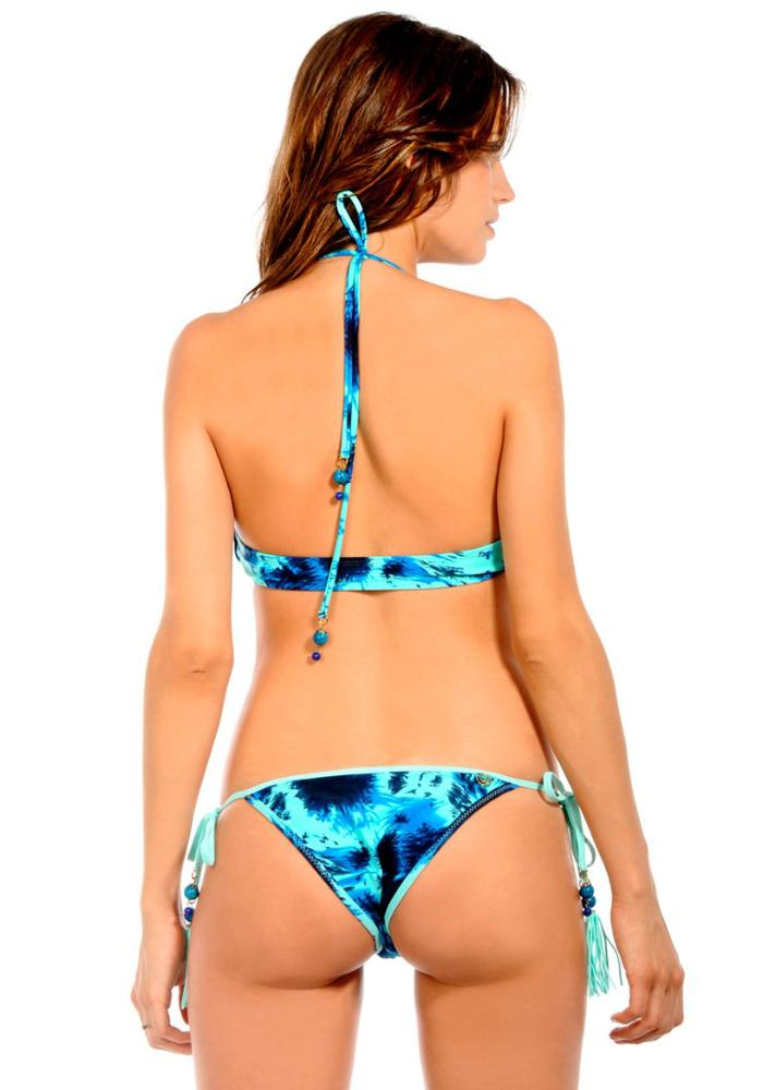 SPLASH AQUAMARINE Gem Tassel Tie Side Bikini Bottom Maya Swimwear