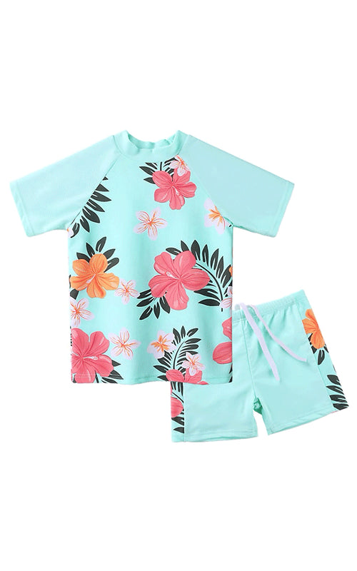 MAYA UNLIMITED Girls Flower Short Sleeve Swimwear Set