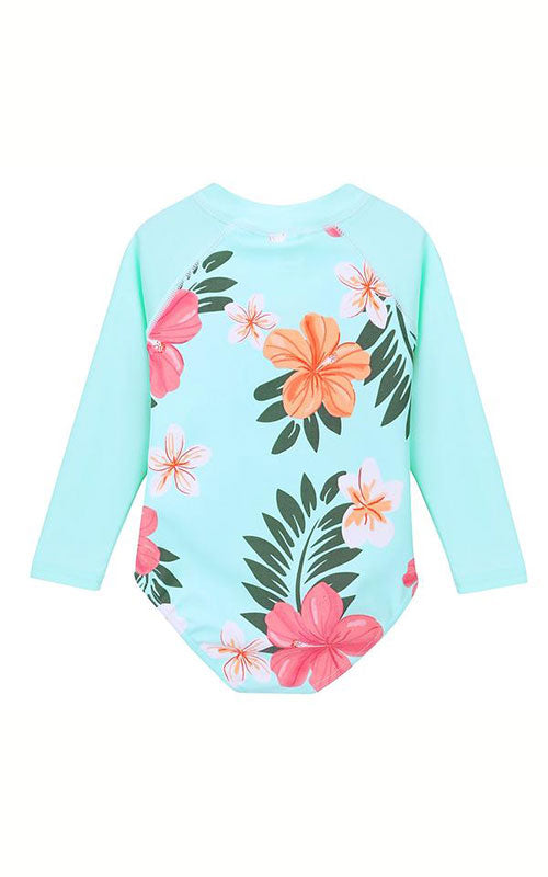 MAYA UNLIMITED Girls Flower Long Sleeve Swim back