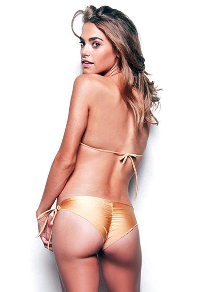 Gold Tie Side Scrunch Bikini Bottom (FINAL SALE)