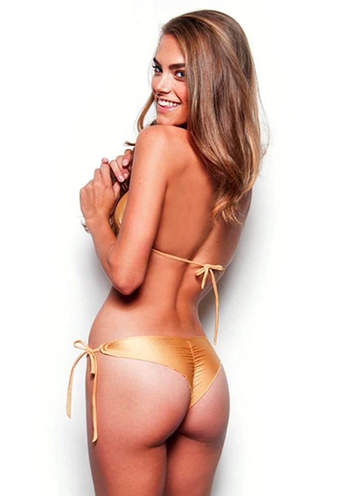 Gold Less Coverage Tie Side Bottom (FINAL SALE) - Celebrity Style