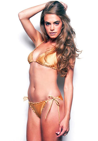 BLACK Tie Side Signature Less Coverage Scrunch Bikini Bottom  - Celebrity Style